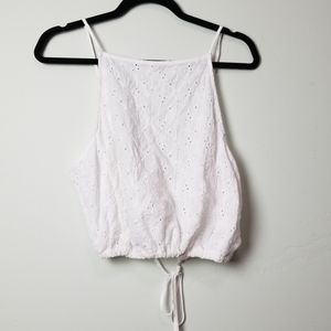 Brandy Mellville white backless eyelet summer top